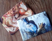 Summer & Winter Sister Fox Kitsune Zipper Bag (One Bag, the Bag is Double Sided)