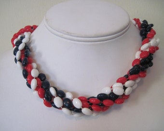 vogue jewelry - MOD 1960s red, white, & navy beaded necklace - choker, nautical, multi strand, sailor, signed, patriotic, designer, preppy