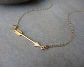 Gold Arrow Necklace, Sideways Arrow, Horizontal Arrow, Irisjewelrydesign
