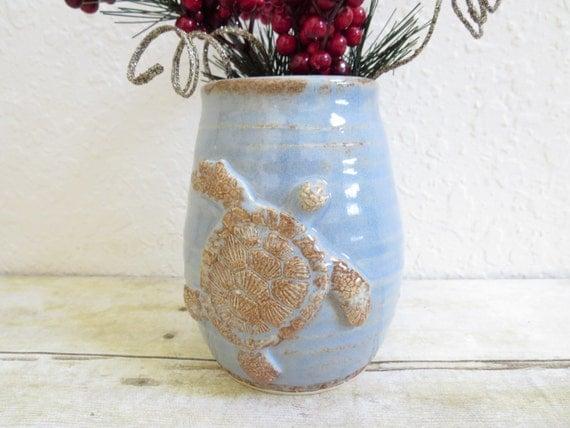 Sea Turtle Vase or Kitchen Utensil Holder Stoneware Pottery Antique Blue Beach Cottage Decor