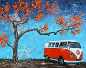 1960's Red Volkswagen Bus print 11x14