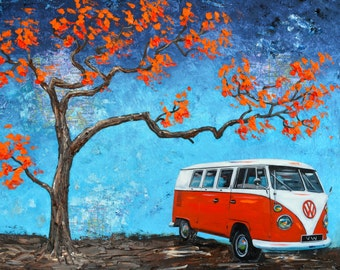 1960's Red Volkswagen Bus print 11x14