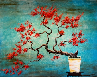 SALE Zen Inspired Red Bonsai Original Painting
