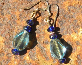 Sparkling aqua and deep blue dangle earrings