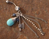 Turquoise Western Cowgirl DeSIGNeR Belly Button Ring A Little Blingy Rodeo Rhinestone Cowboys Desire