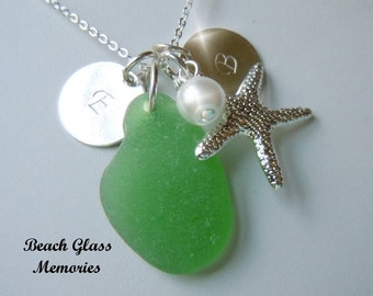 Personalized Green Beach Glass Necklace Sea Glass Jewelry Seaglass Necklace Monogram