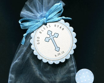 40 Baby Boys Baptism Favor, Christening Favor, Communion Favor,Candy Bags With Personalized Tags Candy Stickers Blue Organza Bags Blue Cross