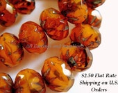 10 Orange Picasso Cruller Czech Faceted Glass Bead 9x6mm - 10 pc - G6042-OP10