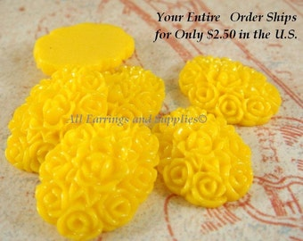SALE - 6 Yellow Resin Cabochon Flowers Opaque 18x13mm - No Holes - 6 pc - CA2001-Y6