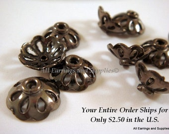 10 Black Flower Bead Cap w Cutouts Gunmetal 11x4mm fits 10-12mm Bead Plated Copper - 10 pc - 6016-11