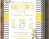 BABY SHOWER INVITATION Yellow and Gray Chevron/Couples Shower/Printable Digital File/ Cute Elephant Shower Invitation/Matching Items Avail