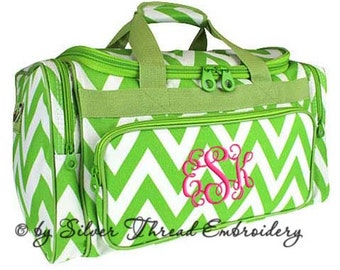 Personalized Duffle Bag Chevron Lime Green White Ballet Dance Travel
