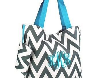 Personalized Tote Bag Gray Chevron Aqua Blue Trim Monogrammed Dance Cheer
