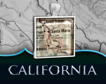 Santa Maria, CA Map Pendant