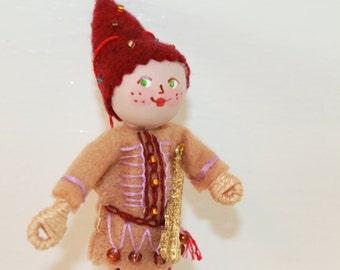 Felt Art Dolls Boy Playing Guitar, Felt ornaments, felt figurines, felt decorations, felt hanging ornament by WhisperingOak