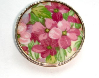Fine Silver Edged Vintage China Brooch - Various Patterns