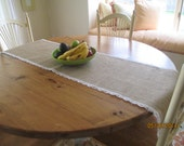 Burlap Table Runner   Lace on 4 Sides  Natural Burlap  18 Inches Wide X 68 inches Long