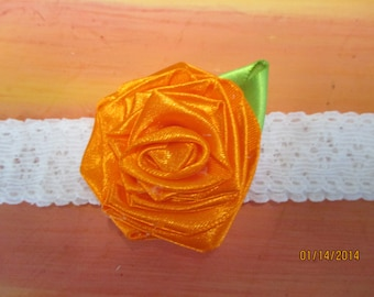 "Wedding Garter  1"" Stretch lace with handmade flower  Bridal Garter"