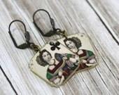 Queen of Clubs Earrings - Queen of Clubs - Queen Earrings - Playing Card Earrings - Queen of Clubs Jewelry - Vegas Jewelry - Queen Jewelry