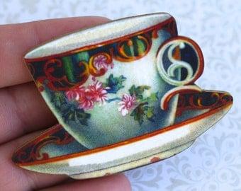 Color Teacup Brooch
