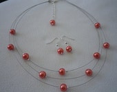SALE Three Stranded Infinity Watermelon Orange Pearl Necklace and Earrings Set