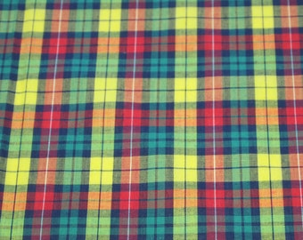 SALE vintage 70s fabric, featuring great yellow, red and green plaid design, 1 yard, 2 available, priced PER YARD