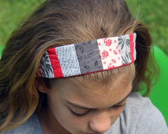 Quilted Patchwork Scarlet and Grey Headband Ohio State Buckeyes Sportswear