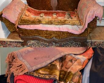 Vintage 50 S 60 S Boho Woven Italian Tapestry Velvet