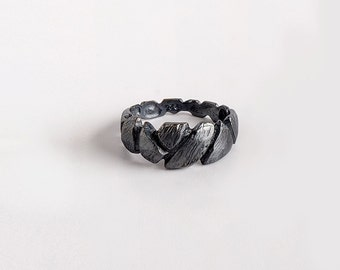 Oxidized Silver Ring, Faceted Ring, Silver Band Ring, Textured Ring, Rustic Silver Ring, Black Rock Ring