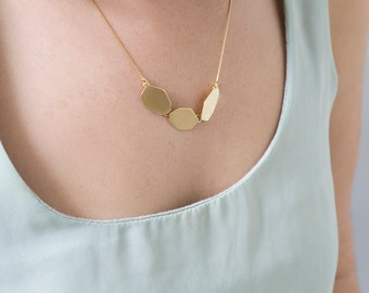 Everyday Gold Necklace , Gold Nuggets Necklace