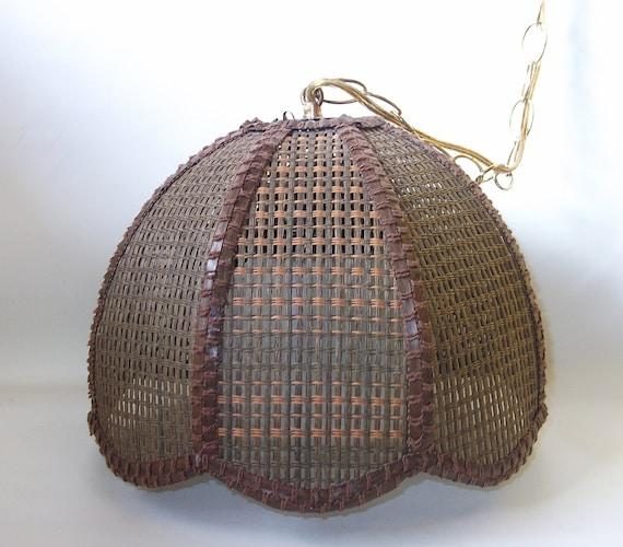 Mid Century Swag Lamp: Brown Wicker Swag Lamp Mid Century Retro Lighting Eames Era