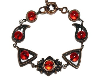 Neo Victorian Jewelry - Bracelet -Copper Tone - Red