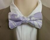 DAMASK BOWTIE Or HANKY- osborne lilac lavendar  white  Wedding Party Tie and pocket square for groom groomsmen ringbearer wedding bridal
