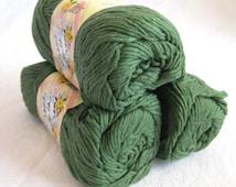 Creme de la Creme Dark Green Cotton Yarn, FOREST Green,  100% cotton, worsted weight, dishcloth cotton