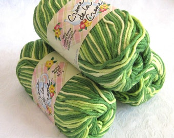 Creme de la Creme Green Cotton Yarn, GREEN TONES,  green variegated yarn