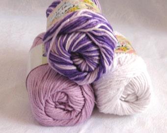 100% cotton yarn, PURPLE tones combination pack,  Purple violet  white cotton yarn, Creme de la Creme yarn, worsted weight, 3 balls