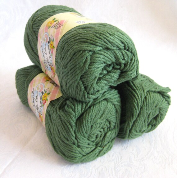 Creme de la Creme Dark Green Cotton Yarn, FOREST Green,  100% cotton, worsted weight, dishcloth cotton