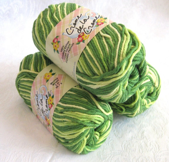 Creme de la Creme Green Cotton Yarn, GREEN TONES,  green variegated yarn