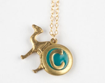 C Necklace - Initical C Jewelry - Monogram Necklace - Letter C Charm - Camel Necklace - Camel Charm - Personalized Necklace - Tiny Locket