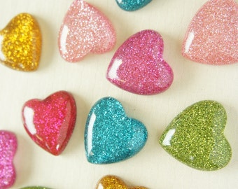 6 pcs Big Glitter Heart Cabochon (27mm) IK134