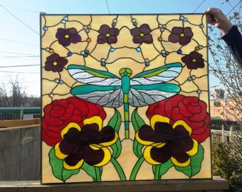 """Stained glass Hanging Panel -  """"Iridescent Dragonfly"""" (P-42)"""