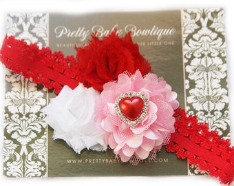 Pink Heart Baby Headband- Baby Girl Headband - Pink and Red Valentines Flower Headband -Baby Headband - Photo Prop