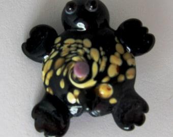 Large Speckled Swirl Lampwork Sea Turtle Bead