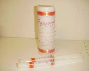 Unity Candle Set Personalized with swirls and rhinestones