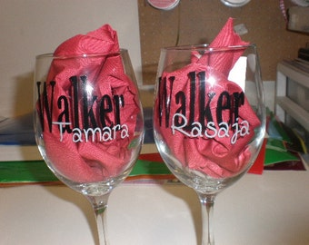 Personalized Wine Glasses with last name and first names