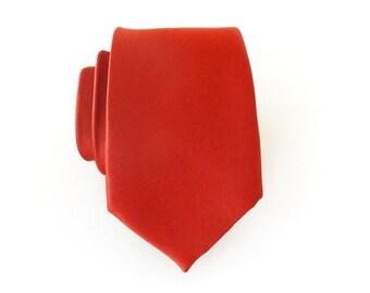 Mens Ties. Necktie Rust Red Mens Tie