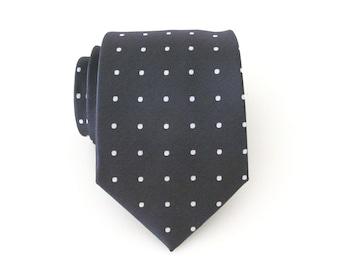 Men's Ties. Necktie Gray Silver Dot Mens Tie