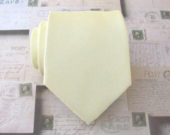 Yellow Tie. Necktie Pastel Butter Yellow Mens Tie Light Yellow Tie