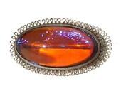 Vintage Dragon's Breath Brooch Art Deco Sterling Silver Fire Opal Glass Pin