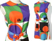 Rudi Gernreich Mod 60s Dress Pop Art Typography Shift M MUSEUM PIECE
